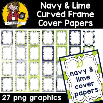 Navy & Lime Curved Frame Cover Papers {CU}