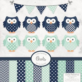 Navy & Mint Vector Owls & Papers - Baby Owl Clipart, Owl C