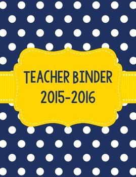 Navy Polka Dot and Yellow Teacher Binder for 2015-2016