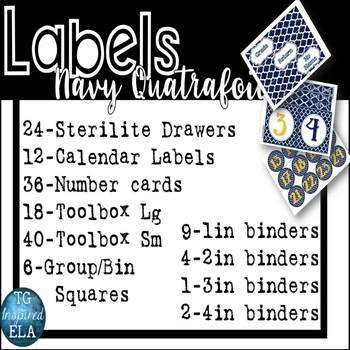 Navy Quatrefoil -- 3-drawer Organizer Box Labels