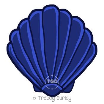 Navy Scallop Shell - scallop shell clip art Printable Trac
