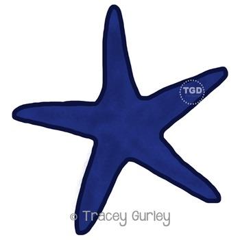 Navy Starfish - starfish clip art, beach art Printable Tra