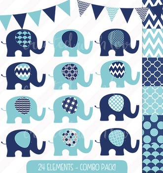 Navy and Aqua Elephant and Bunting Clip Art Combo with Dig