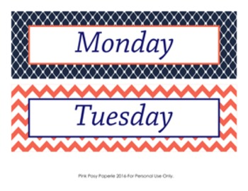 Navy and Coral Days of the Week Calendar Headers