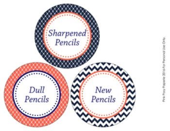 Navy and Coral Pencil Caddy Labels