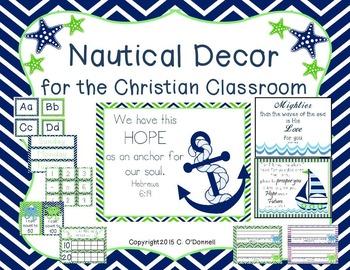 Navy and Green Christian Nautical Classroom Decor Editable