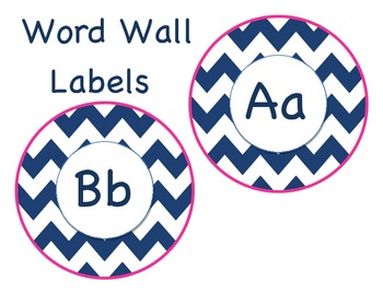 Navy and Pink Chevron Word Wall labels