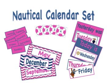Navy and Pink Nautical Calendar Set