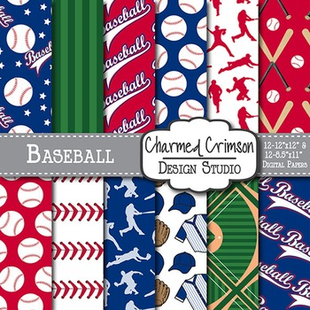 Navy and Red Baseball Digital Paper 1485