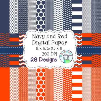 Navy and Red Digital Paper