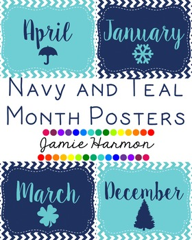 Navy and Teal Month Posters