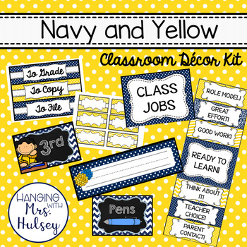 Navy and Yellow Classroom Decor Set