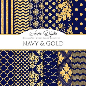 Navy blue and Gold Glitter Digital Paper sparkle pattern s