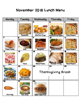 Nebo School District Picture Lunch Menu