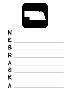 Nebraska State Acrostic Poem Template, Project, Activity,