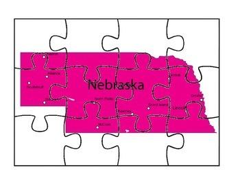 Nebraska State Puzzle Map #2
