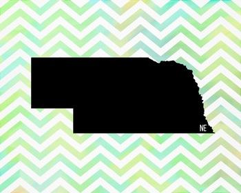 Nebraska Chevron State Map Class Decor, Government, Geography