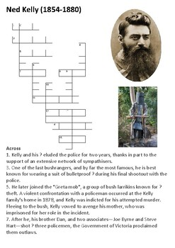 Ned Kelly Crossword