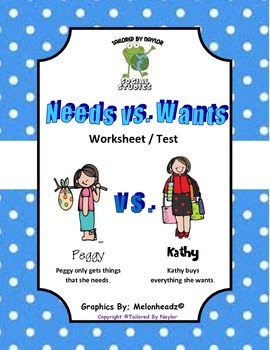 Needs Vs. Wants Test / Worksheet