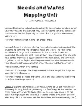 Needs/Wants and Mapping Inquiry Unit