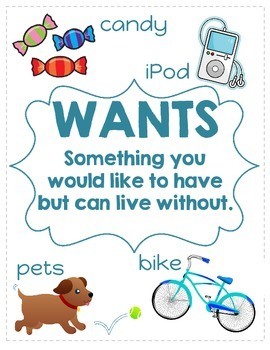 Needs and Wants Anchor Chart