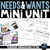 Needs and Wants flip flap resources, anchor charts, and gr