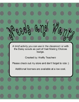Needs and Wants- Center activity and/or Daisy Scouts
