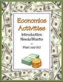 Needs and Wants Economics Skill Sheets