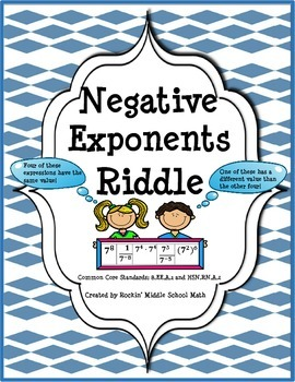 Negative Exponents Practice with Riddle-(CCSS 8.EE.A.1 and