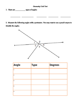 Nelson 6: Geometry Unit Test - Angles, Symmetry, Geometry