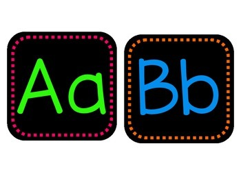Neon Alphabet on Black with Dashes in Print
