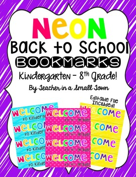 Neon Back to School Bookmark Pack {Editable}