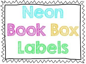 Neon Book Box Labels