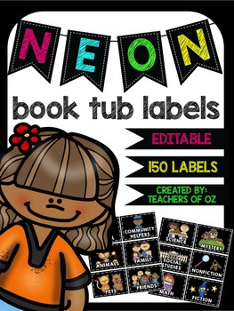 Neon Book Tub Labels