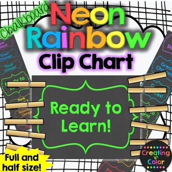 Neon Rainbow Chalkboard Behavior Clip Chart