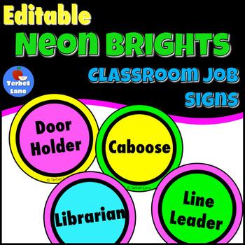 Neon Brights Classroom Job Signs