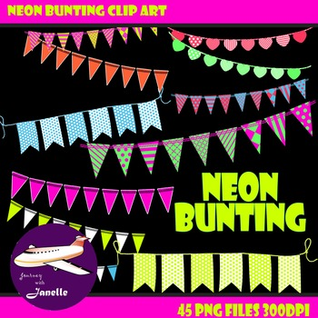 Neon Bunting Clip Art in Bright Rainbow Colors, Bunting Fl