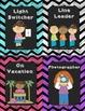 Neon Chalkboard Classroom Helper/ Job Cards
