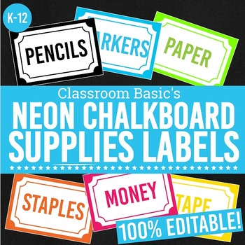 Neon Chalkboard Printable Supplies Labels (Editable!) - 6 Colors!