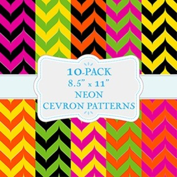 Neon Chevron Backgrounds - 10-Pack