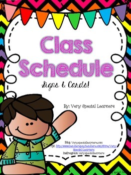 Neon Chevron Class Schedule Signs & Cards