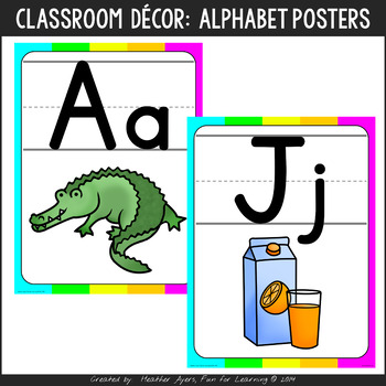 Neon Colors Alphabet Posters