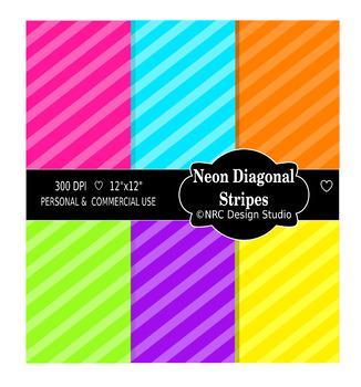 Neon Diagonal Stripes Paper Pack
