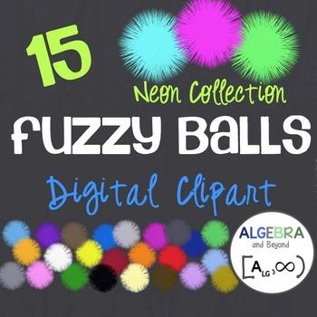 Neon Fuzzy Balls - Clip Art
