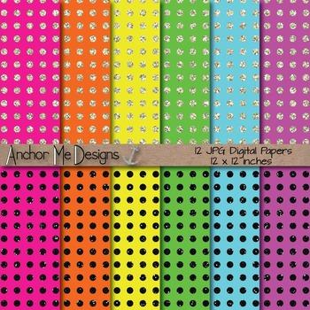 Neon & Glitter Polka Dot Digital Paper Pack