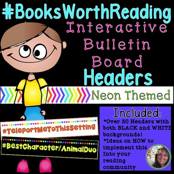 Neon Interactive Reading Bulletin Board: Hashtag Headers f