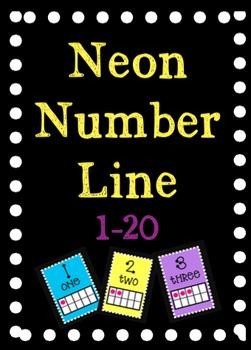 Neon Number Line 1-20 with ten frames