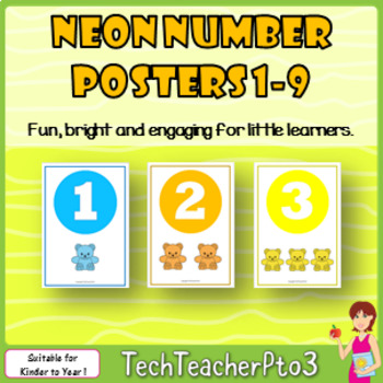 Neon Number Poster Set to brighten up any kinder classroom