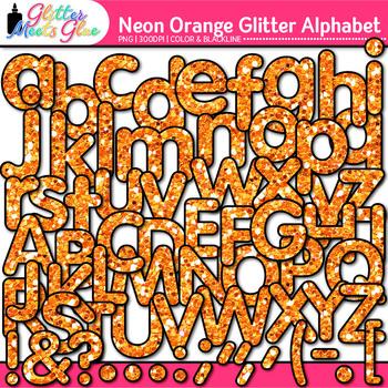 Neon Orange Alphabet Clip Art {Glitter Letters for Classro