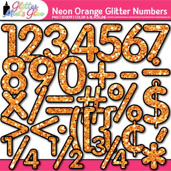 Neon Orange Math Numbers Clip Art {Great for Classroom Dec